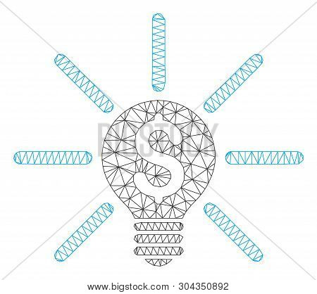 Mesh Business Idea Bulb Polygonal Icon Vector Illustration. Carcass Model Is Created From Business I