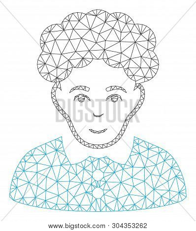 Mesh Brunette Woman Polygonal Icon Vector Illustration. Model Is Created From Brunette Woman Flat Ic
