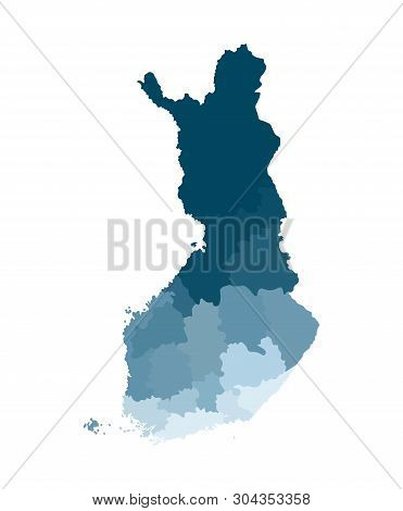 Vector isolated simplified map of Finland regions. Borders of administrative divisions. Blue khaki colors silhouette, white background poster