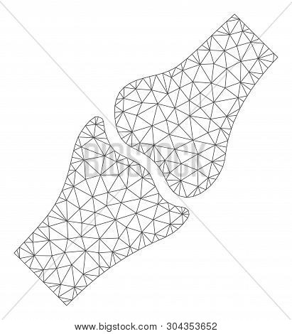 Mesh Bone Joint Polygonal Icon Vector Illustration. Carcass Model Is Based On Bone Joint Flat Icon.