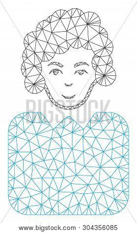 Mesh Bureaucrat Lady Polygonal 2d Vector Illustration. Model Is Based On Bureaucrat Lady Flat Icon.