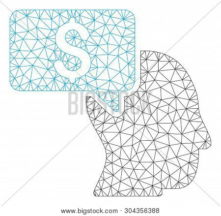 Mesh Businessman Idea Polygonal Icon Vector Illustration. Carcass Model Is Based On Businessman Idea