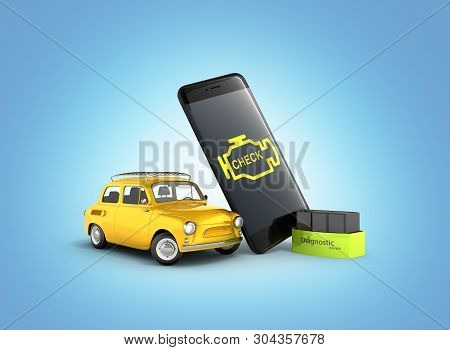 Car Diagnostic Concept Close Up Of Obd2 Wireless Scanner With Smartphone And Retro Car On Blue Gradi