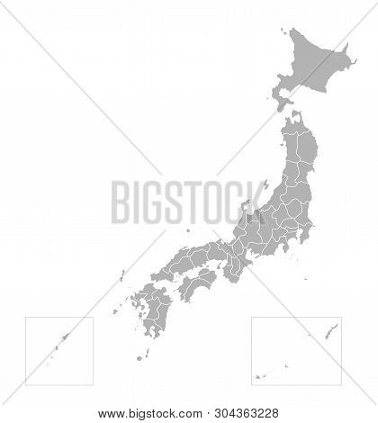 Vector Isolated Illustration Of Simplified Administrative Map Of Japan. Borders Of The Prefectures (