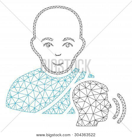Mesh Buddhist Confession Polygonal 2d Vector Illustration. Model Is Based On Buddhist Confession Fla