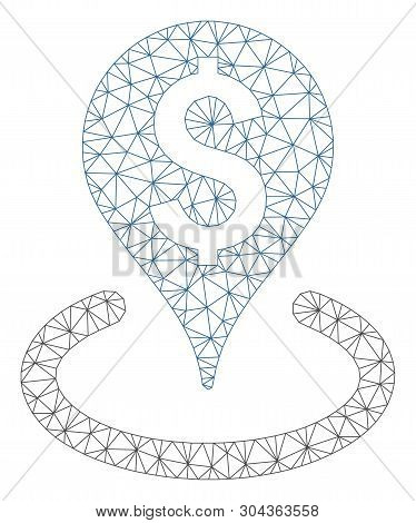 Mesh Business Geotargeting Polygonal Icon Vector Illustration. Carcass Model Is Based On Business Ge