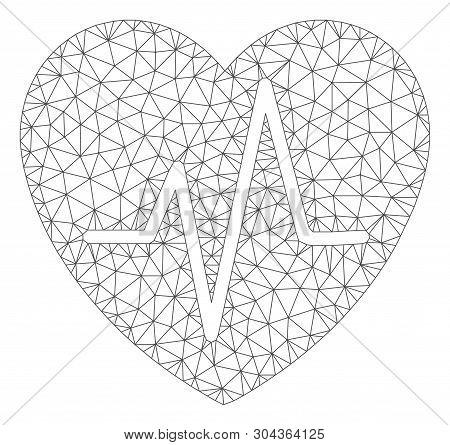 Mesh Cardiology Heart Pulse Polygonal 2d Vector Illustration. Model Is Based On Cardiology Heart Pul