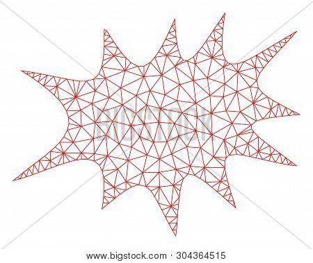 Mesh Boom Bang Polygonal Symbol Vector Illustration. Model Is Based On Boom Bang Flat Icon. Triangle