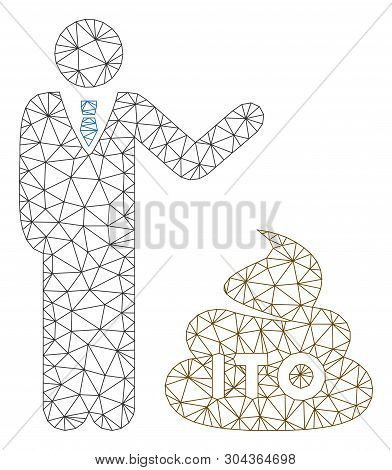Mesh Businessman Show Ito Shit Polygonal Icon Vector Illustration. Model Is Created From Businessman
