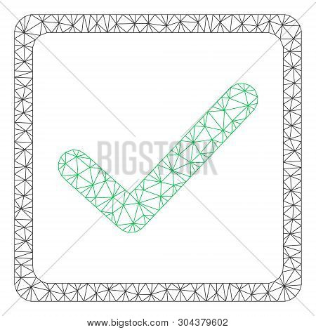 Mesh Checkbox Polygonal Icon Vector Illustration. Abstraction Is Based On Checkbox Flat Icon. Triang