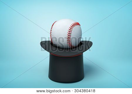 3d Rendering Of Black Tophat Upside Down With White Baseball Inside On Light Blue Background.