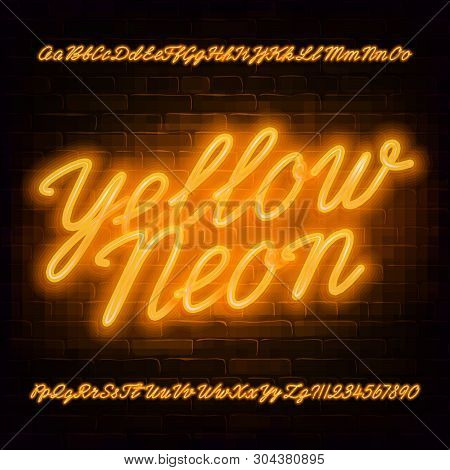 Yellow Neon Script Alphabet Font. Neon Color Lowercase And Uppercase Bright Letters And Numbers. Sto