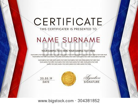 Certificate Template With France Flag (blue, White, Red Colors) Frame And Gold Badge. White Backgrou