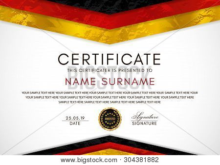Certificate Template With German Flag (black, Red, Yellow Colors) Frame And Gold Badge. White Backgr