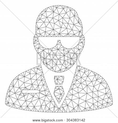 Mesh Chief Polygonal Icon Vector Illustration. Model Is Based On Chief Flat Icon. Triangle Mesh Form