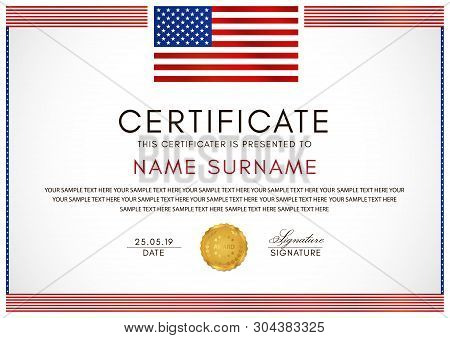 Certificate Template With American Flag (usa) Frame And Gold Badge. White Background Design For Dipl