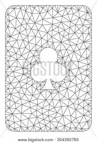 Mesh Clubs Playing Card Polygonal 2d Vector Illustration. Carcass Model Is Based On Clubs Playing Ca