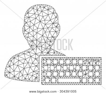 Mesh Coder Polygonal Icon Vector Illustration. Carcass Model Is Based On Coder Flat Icon. Triangle N