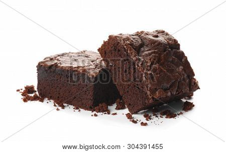 Pieces Of Fresh Brownie On White Background. Delicious Chocolate Pie