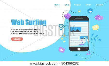 Webpage Template. Surfer Surfing A Wave Web Page Vector Illustration. Web Page Surfing Concept.