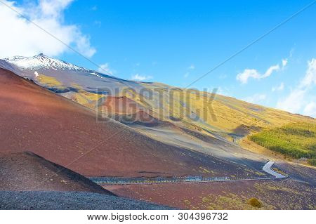 Impressive Volcanic Landscape Surrounding The Top Of Mount Etna, Sicily, Italy Captured With Blue Sk