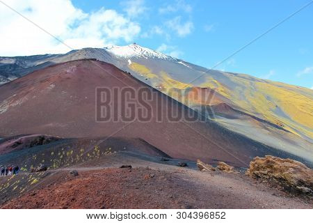 Silvestri Craters On Mount Etna With Very Top Of The Famous Volcano In The Background. Etna In Itali