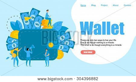Webpage Template. Wallet With Dollar Banknotes And Coins. Finance Bank Concepts.