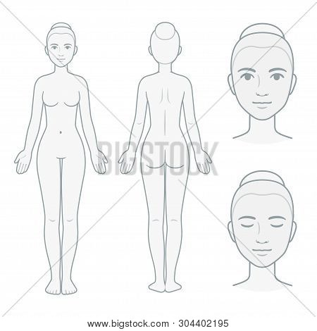 Female Body And Face Chart, Front And Back View With Head Close Up. Blank Woman Body Template For Me