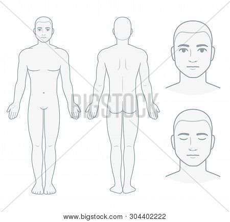 Male Body And Face Chart, Front And Back View With Head Close Up. Blank Man Body Template For Medica