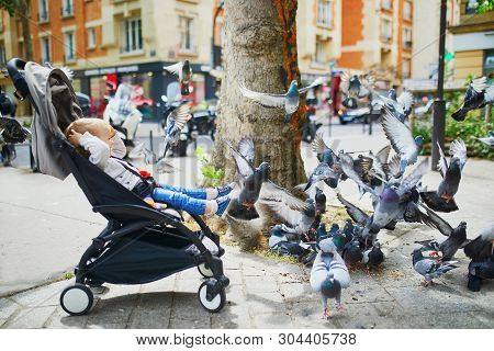Adorable Little Girl In Pushchair Looking At Pigeons. Toddler Playing With Birds On A Street Of Pari