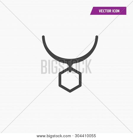 Line hexagon shape choker, pendant, necklace Icon. Vector on white background. poster