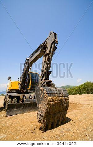 excavator on a working platform