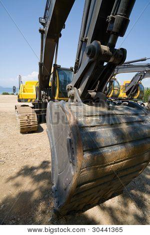 excavators on a working platform