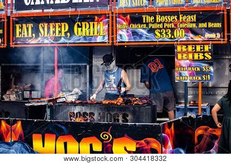 2019-06-01 Windsor, Ontario Canada Ribfest Food Festival Ribs Chicken Pulled Pork Barbecue Grill Coo
