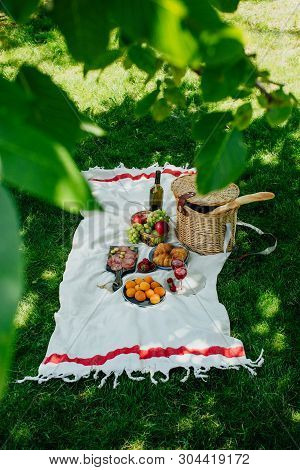 Summer Picnic In The Park On The Green Grass