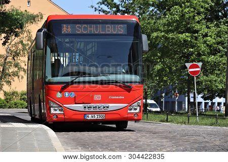 Nuremberg, Germany - May 7, 2018: Iveco School Bus In Nuremberg, Germany. Nuremberg Is Located In Mi