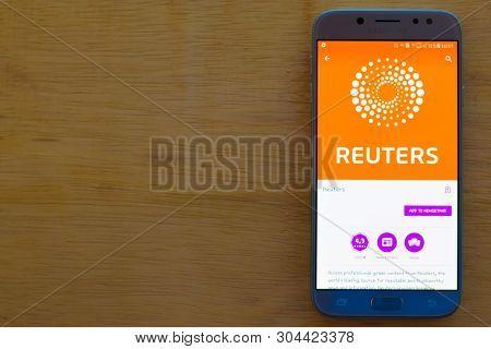 Bekasi, West Java, Indonesia. June 3, 2019 : Reuters Dev Application On Smartphone Screen. Reuters I
