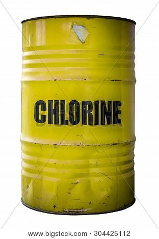 An Isolated Yellow Barrel Of The Dangerous Chemical Chlorine