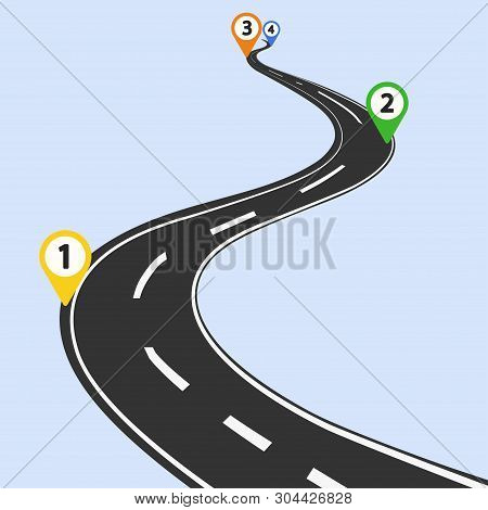 Curved Road Infographic With Color Pins Checkpoint