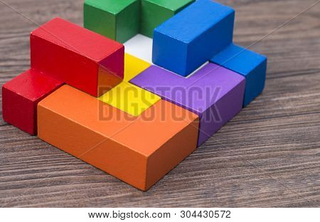 Image Shows Colorful Wooden Blocks On A Wooden Table
