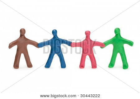 Team fellows from color plasticine poster