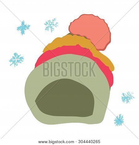 Winter Headwear. Colorful Beanie With Stripes And Pompom Isolated On White Background. Poster Design