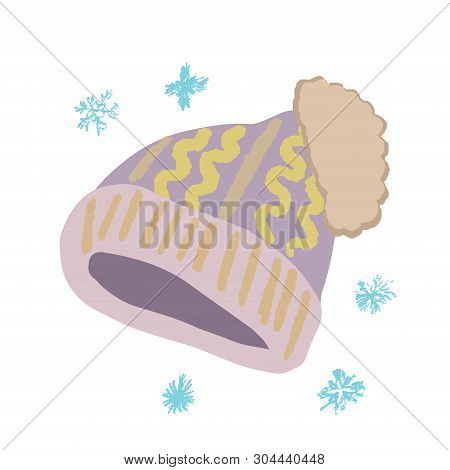Winter Headwear. Light Purple Knitted Beanie With Pompom Isolated On White Background. Poster Design