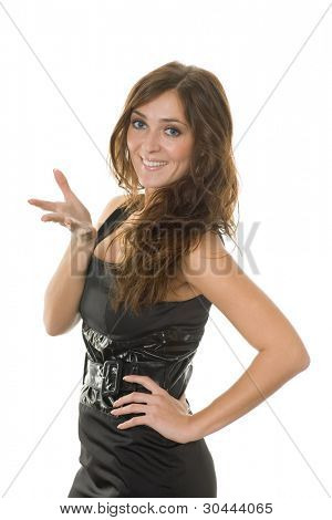Beautiful smiling girl with a gesture and facial expressions question