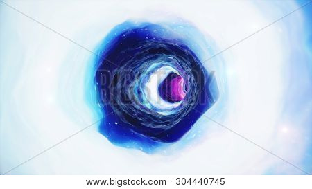 3d Illustration Tunnel Or Wormhole, Tunnel That Can Connect One Universe With Another. Abstract Spee