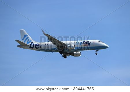 Amsterdam, The Netherlands - June, 1st 2019: G-fbjc Flybe Embraer Erj-175  Final Approach To Polderb
