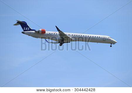 Amsterdam, The Netherlands - June, 1st 2019: Ei-fpk Sas Scandinavian Airlines Bombardier Crj-900 Fin