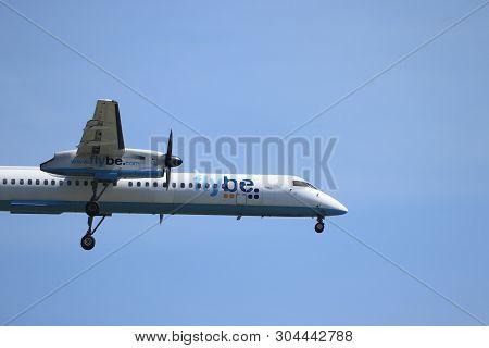 Amsterdam, The Netherlands - June, 1st 2019: G-ecoe Flybe De Havilland Canada Dhc-8-400 Final Approa