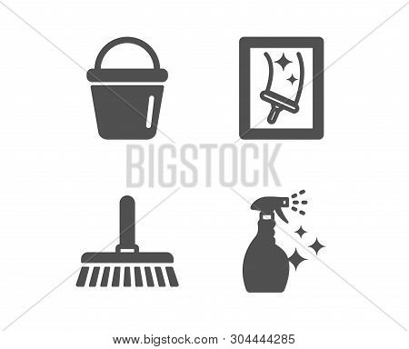 Set Of Cleaning Mop, Bucket And Window Cleaning Icons. Washing Cleanser Sign. Sweep A Floor, Washing