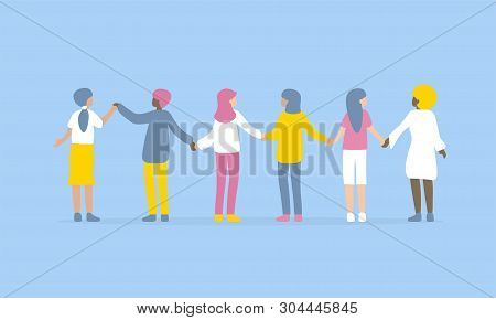 Happy Women Or Girls Standing Together And Holding Hands. Group Of Female, Union Of Feminists, Siste
